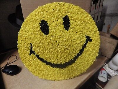 """Vintage Melted Plastic Popcorn Happy Smiley Face Wall Art 70's Mod Retro 13"""""""