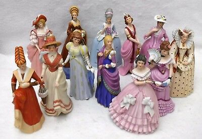 LENOX china GREAT FASHIONS OF HISTORY Series Complete set of 12 Lady Figurines