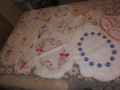 Assortment Of Hand Embroidered And Hobbytex Style Doilies & Centers (14)