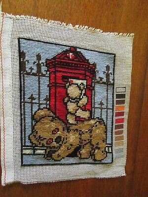 Completed Tapestry Of A Myart Baby Bear Posting A Letter With Help. 14X18Cms