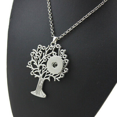 Tree of Life Charm Pendant Choker Necklace Fit 18mm Noosa Snap Button N180