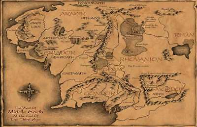 Lord Of The Rings  Replica *middle Earth Map* Poster