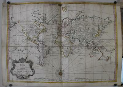 1748 Jacques Nicolas Bellin Large Antique Sea World Map On Mercator's Projection
