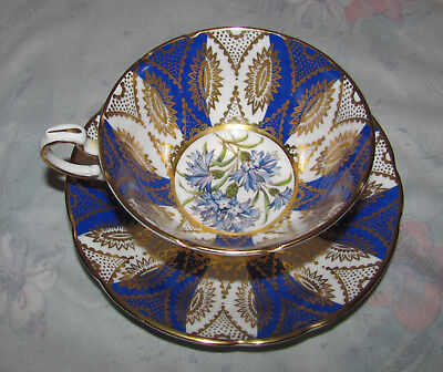 Vintage Paragon Tea Cup and Saucer Blue Periwinkle Flowers Floral and Gold