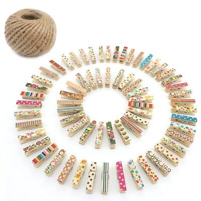 100X Mini Small Wooden Pegs 35mm Craft Baby Shower Photo Paper Clothespin Set