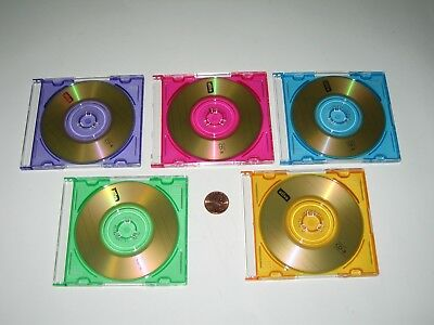 lot of 5 Ativa mini CD-R blank disc with colored plastic cases