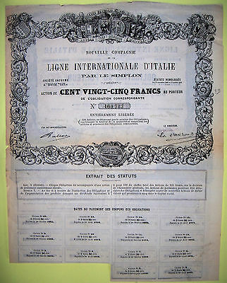 Action 1868 Ligne Internationale D Italie Par Le Simplon