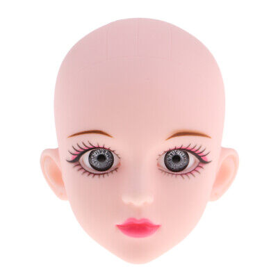 Cute Plastic Female Head Sculpt with Gray Eyes for 1/4 BJD Doll Parts Accs