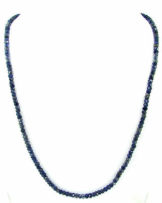 "64 Ct Natural Blue Iolite Gemstone Rondelle Beads Necklace 20"" String - B245"