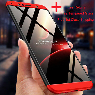 360 Full Body Hard Case Shockproof Cover For Huawei Y6 Y7 2018+Tempered Glass