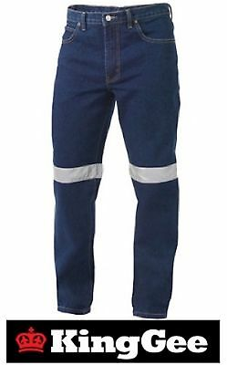 KING GEE  MENS DENIM WORK JEANS WITH 50mm 3M REFLECTIVE TAPE K53030