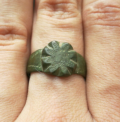 **Mythological Flower** Ancient Bronze Legionary Roman Ring AMAZING