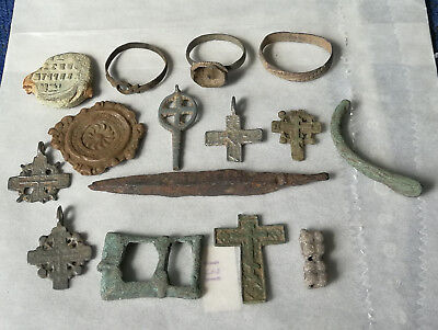 Ancient Viking.Whole and broken crosses, rings, buckles and amulets 5-16 AD