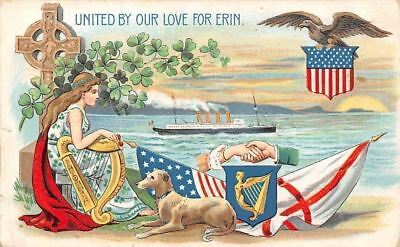 United By Our Love For Erin, Patriotic Flags Eagle Shamrocks Harp Dog Ship