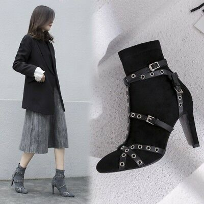 Womens Fashion Faux Suede Buckle Straps High Heel Studs Ankle Boots Shoes cose