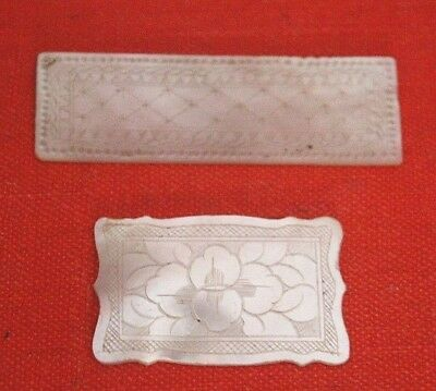 2 Antique Mother Of Pearl Armorial Gaming Counters Chips ~ Chinese Man Flowers