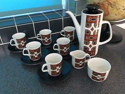 J & G Meakin 15 Piece Maori Retro Coffee Set 1960/70s
