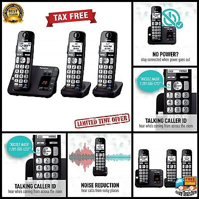 Panasonic DECT 6.0 3 Handset Expandable Cordless Digital Phone Answering System