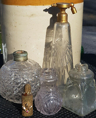 Antique Early Glass Rare Lady's French Perfume Atomizer Cut Glass Old Bottles