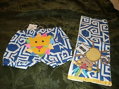 """Mud Pie Baby Girl Safari Diaper Cover and Burp Cloth Set """" Lion and Monkey"""" NWT"""