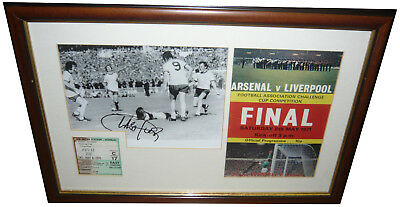 Charlie George Arsenal 1971 SIGNED AUTOGRAPH with Ticket & Programme AFTAL UACC