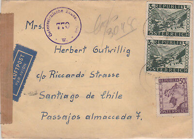 Flugpost Zensur Brief 1947 nach Chile