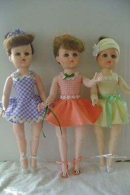 1950's-60's Vintage Ballerina Dolls non- toes TLC parts project 3pc lot