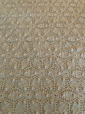 Crochet Coverlet Full size double star hobnail beige tan