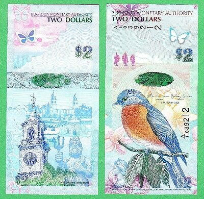 Bermuda 2 Dollar Note P-57 new version  UNCIRCULATED