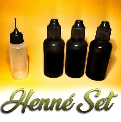 HENNE' PRONTO 3 FLACONI SET TATTOO kit tatuaggi temporanei henne  hennè nero