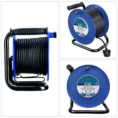 Open Cable Reel Heavy Duty Work Power 50 Meters Cable Reel Safety Thermal Cut