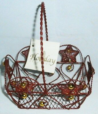 "Holiday Festive Basket [Red] 4 3/4"" x 3 1/2"" x 6 """