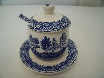 Blue Willow Mustard Jar With Spoon