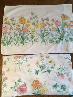 Vintage Cannon Montcello Queen Sheet and Pillowcase - Flowers - Shabby/Cottage