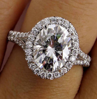 Certified 5.15Ct Oval Cut Diamond Halo Engagement & Wedding Ring 14K White Gold