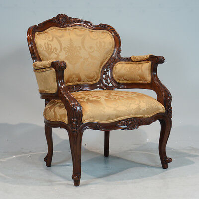 Beautiful pair of Traditional French Arm Chairs in Mahogany with gold damask