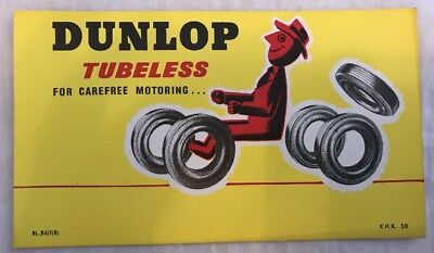 Rare Vintage Dunlop Tubeless Postcard Sized Promotional Card 1956 Retro Design