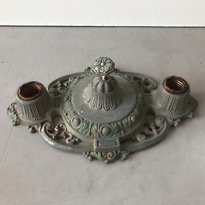 Antique Art Deco cast alloy polychrome ceiling light fixture 2 socket Riddle #1