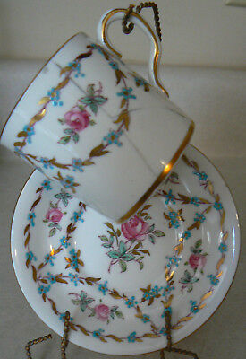 Royal Chelsea Saucer #377A Gold turquoise pink rose Dimetasse cup damaged