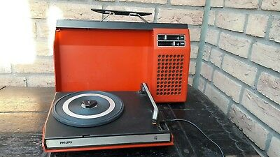"Tragbarer ""Vintage"" Plattenspieler ""PHILIPS"" 423 in Orange"
