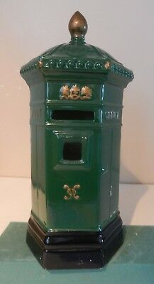 Honiton Pottery  Postbox, Money box, Royal Mail, Victorian style in Green 9.5""
