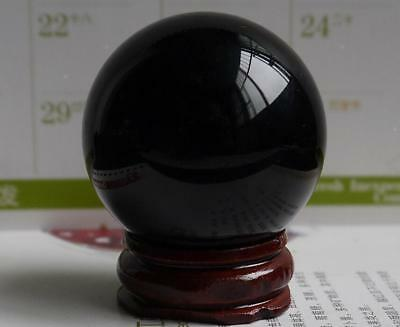 HOT! 40MM +Stand Natural Black Obsidian Sphere Large Crystal Ball Healing