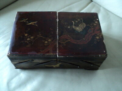 Antique Large Japanese Lacquer Trinket Box With Inlay