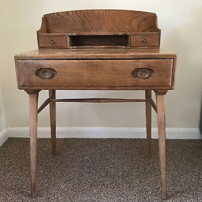 RARE VINTAGE MID CENTURY 1960s ERCOL ELM COMPACT DESK DRESSING TABLE WITh CHAIR