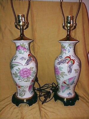 Vintage~Pair of Ceramic Butterfly and Floral Ginger Jar Table Lamps~3-way switch