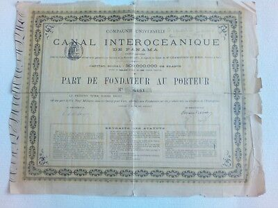 2 Obligation PART de FONDATEUR Canal interoceanique de Panama 1880/Founder share