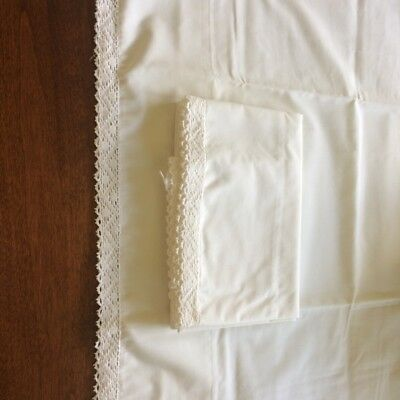 Vintage pair of white standard pillowcases hand crocheted lace. Very Nice