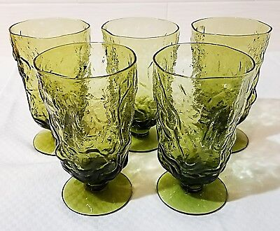 Vintage Seneca Driftwood Avocado Casual Green Footed Goblets Set of 5 VERY NICE!