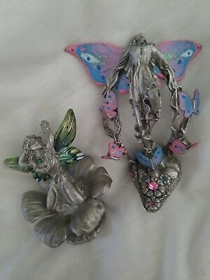 Two Signed Gallo Ridolf 92 Pewter Flower Fairy Butterfly Fairies Figurine Lot