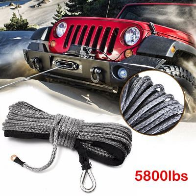 15M 5800LBs Synthetic Winch Line Cable Rope with Sheath for SUV ATV Vehicle UK